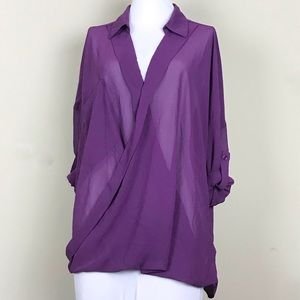 Kut From The Kloth Sheer Purple Blouse Size L